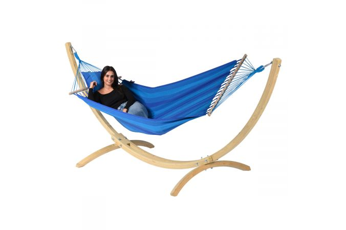 Hamac Avec Support 1 Personne 'Wood & Relax' Blue